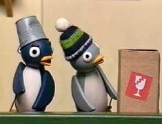 かなり遅れた情報になってしまいましたが、NHK教育TVの「ピタゴラスイッチ」という幼児向け番組にペンギンのキャラクターが2羽登場しています。